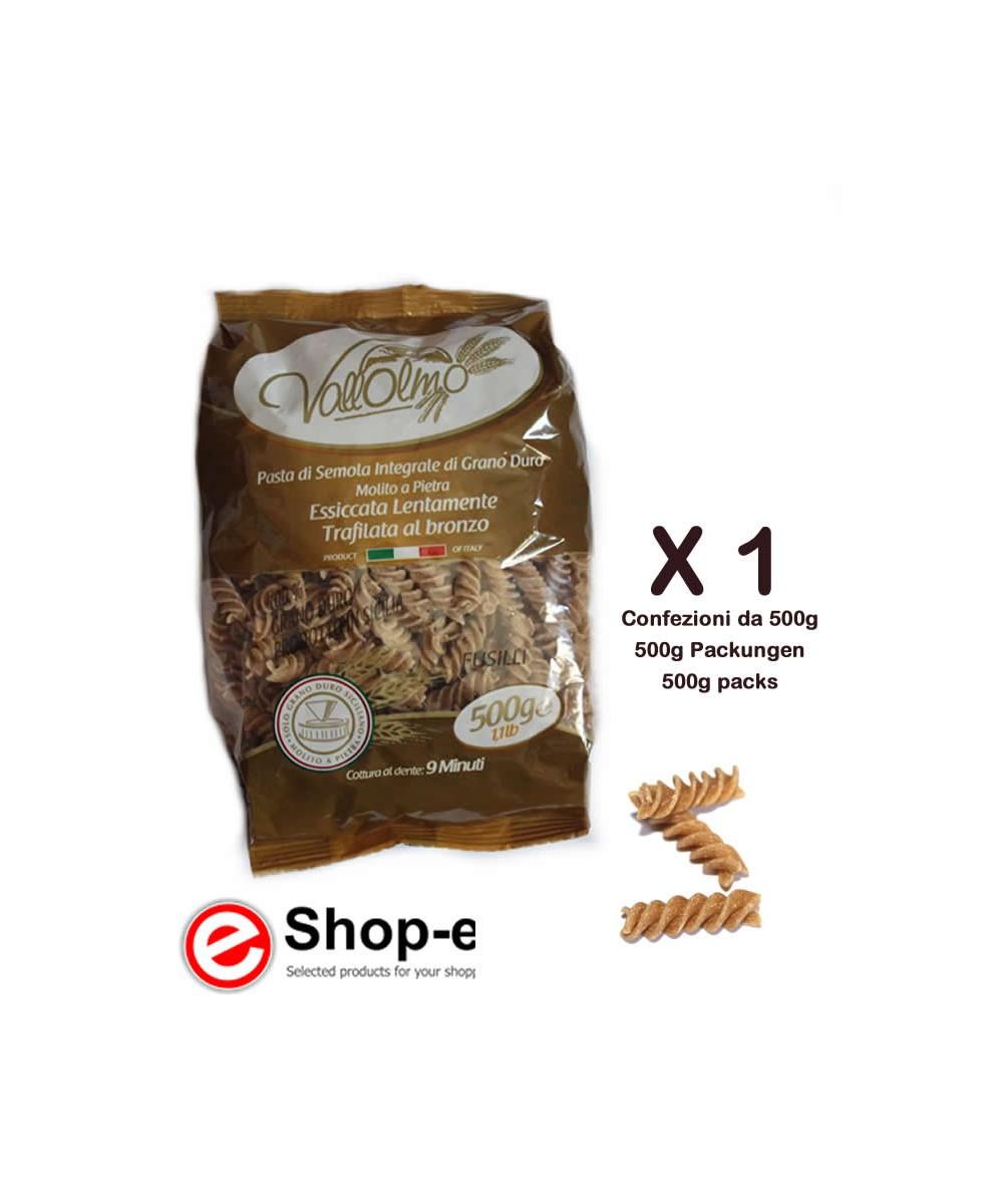 500g of Fusilli Integrali of Sicilian durum wheat Vallolmo