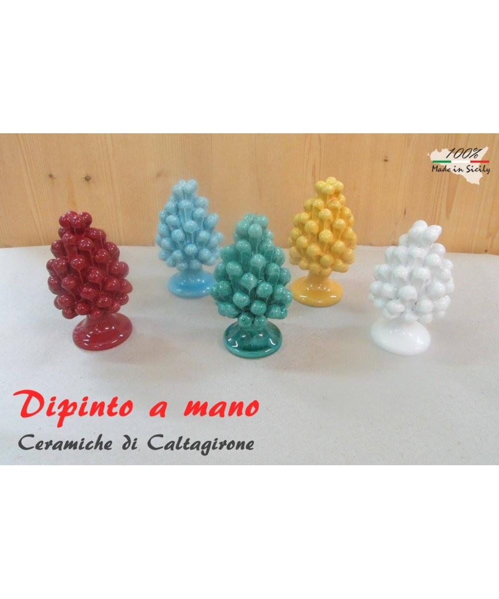 Pigna h 10 cm in Caltagirone ceramic hand-painted in a single color