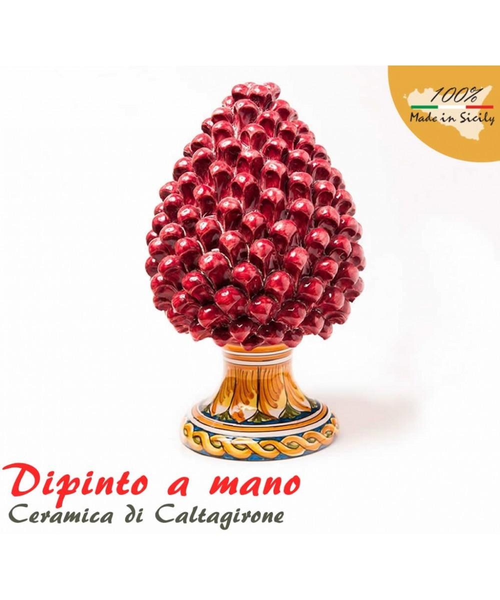 Hand painted pine cone h 45 cm in Caltagirone ceramic