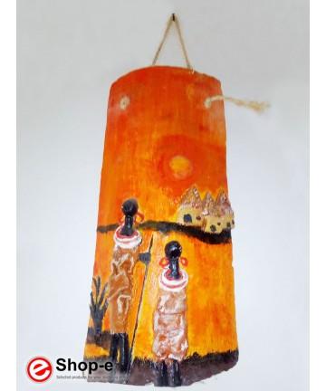 Tegola decorata a mano afro