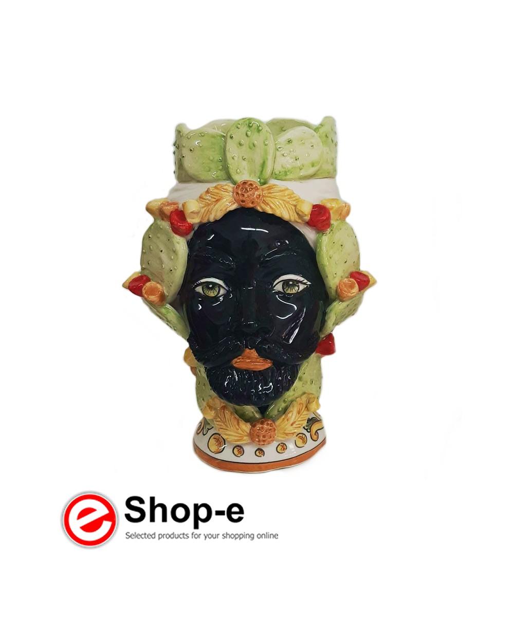 Dunkelbrauner Mann mit Kaktusfeigendekoration h 26 cm