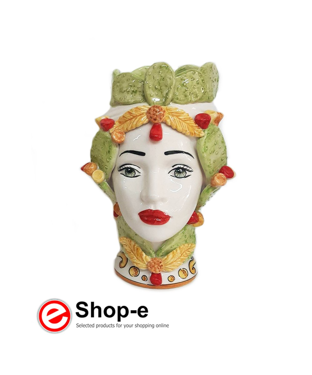 Dunkelbraune Frau mit Kaktusfeigendekoration h 26 cm