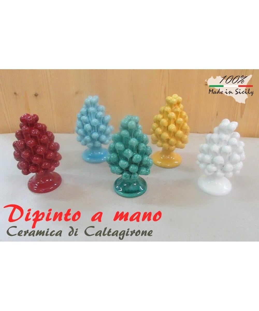 Pigna h 30 cm aus Caltagirone-Keramik, die in einer Farbe handgemalt sind