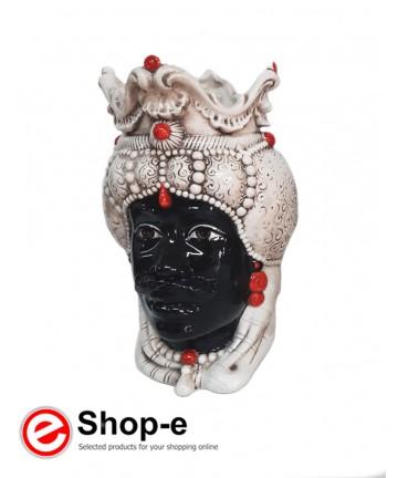 Testa di moro in ceramica di Caltagirone - Uomo h 30 cm