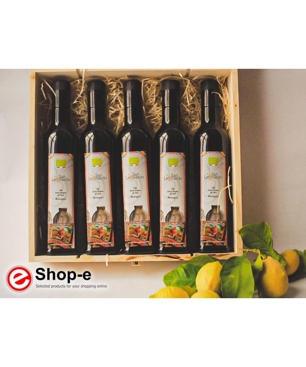 Confezione regalo in legno con 5 bottiglie di olio biologico siciliano