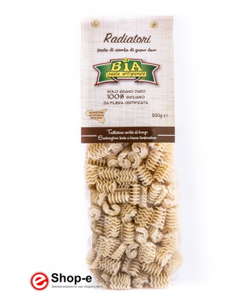 artisan pasta Radiatori bronze drawn