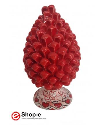Roter Tannenzapfen h 20 cm in handbemalter Caltagiron-Keramik - Besonderer Valentinstag
