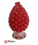Red pine cone h 20 cm in hand painted Caltagirone ceramic - Special Valentine's Day