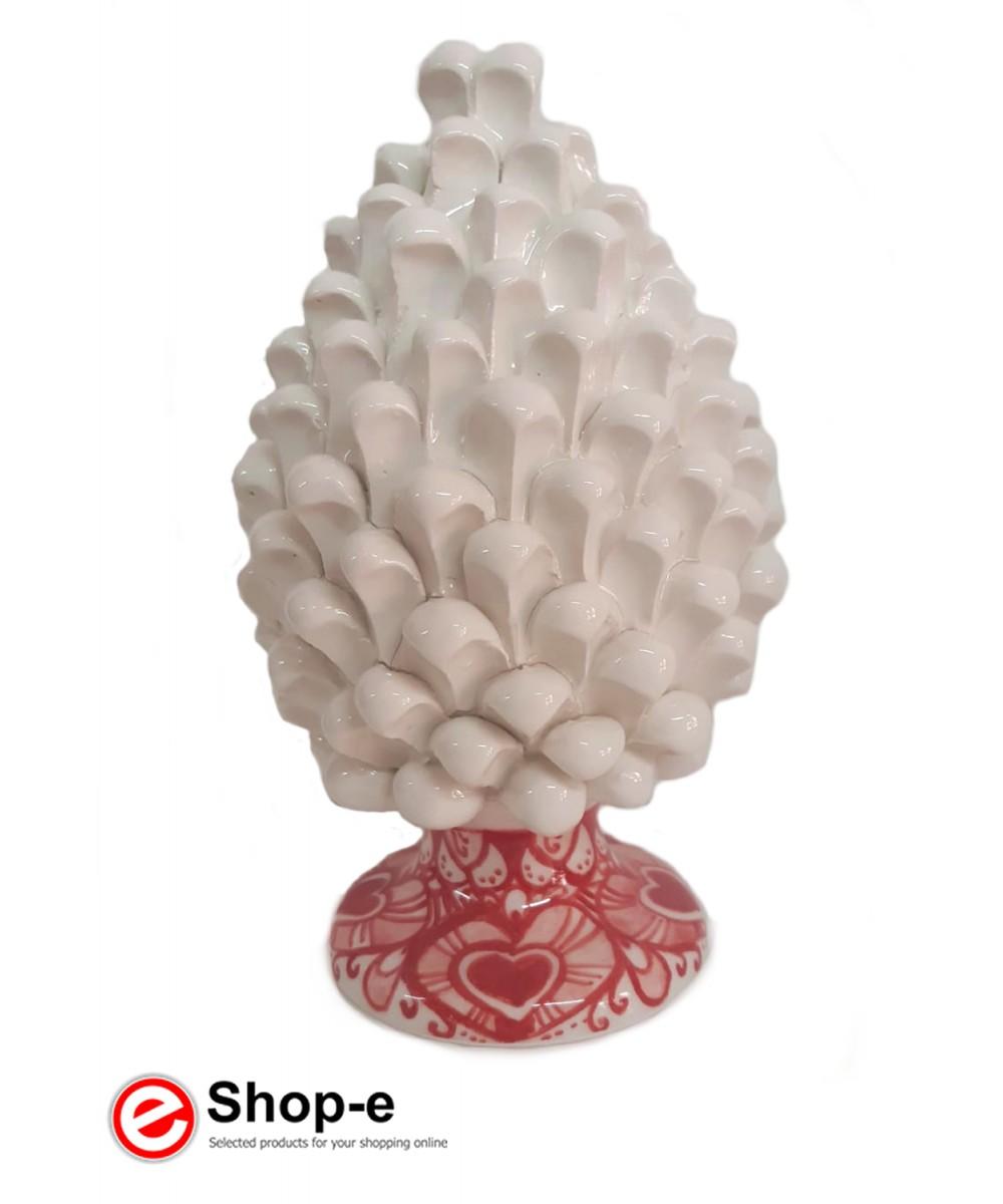 White pine cone h 20 cm in hand painted Caltagirone ceramic - Special Valentine's Day