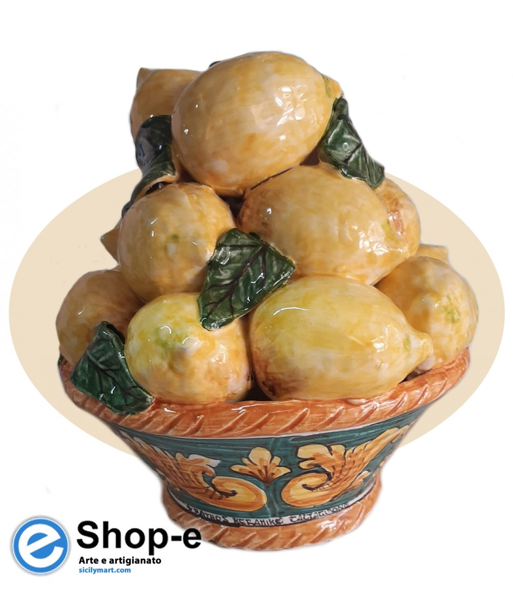 Hand painted basket of lemons from Caltagirone ceramics (h. 25 cm)
