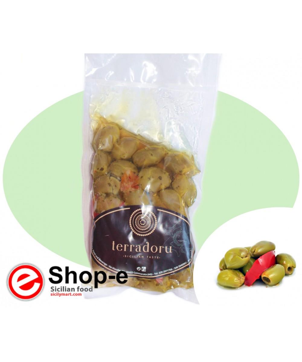 Zerkleinerte sizilianische gr�ne Oliven von 500 g