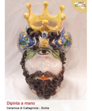 Polyphemus head in Caltagirone ceramic (h. 32 cm)
