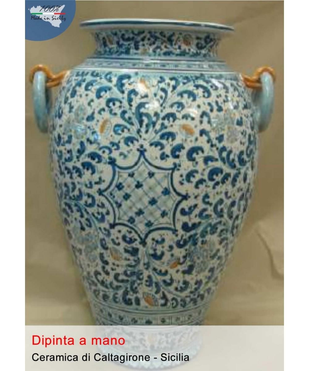 Umbrella stand with ceramic handles from Caltagirone (h 50 cm)