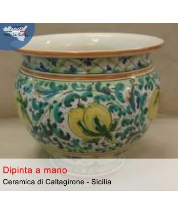 Portapianta in ceramica dipinto a mano (d. cm 30)