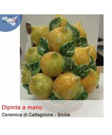 Handgemalter Korb mit Zitronen aus Caltagirone-Keramik (30 cm)