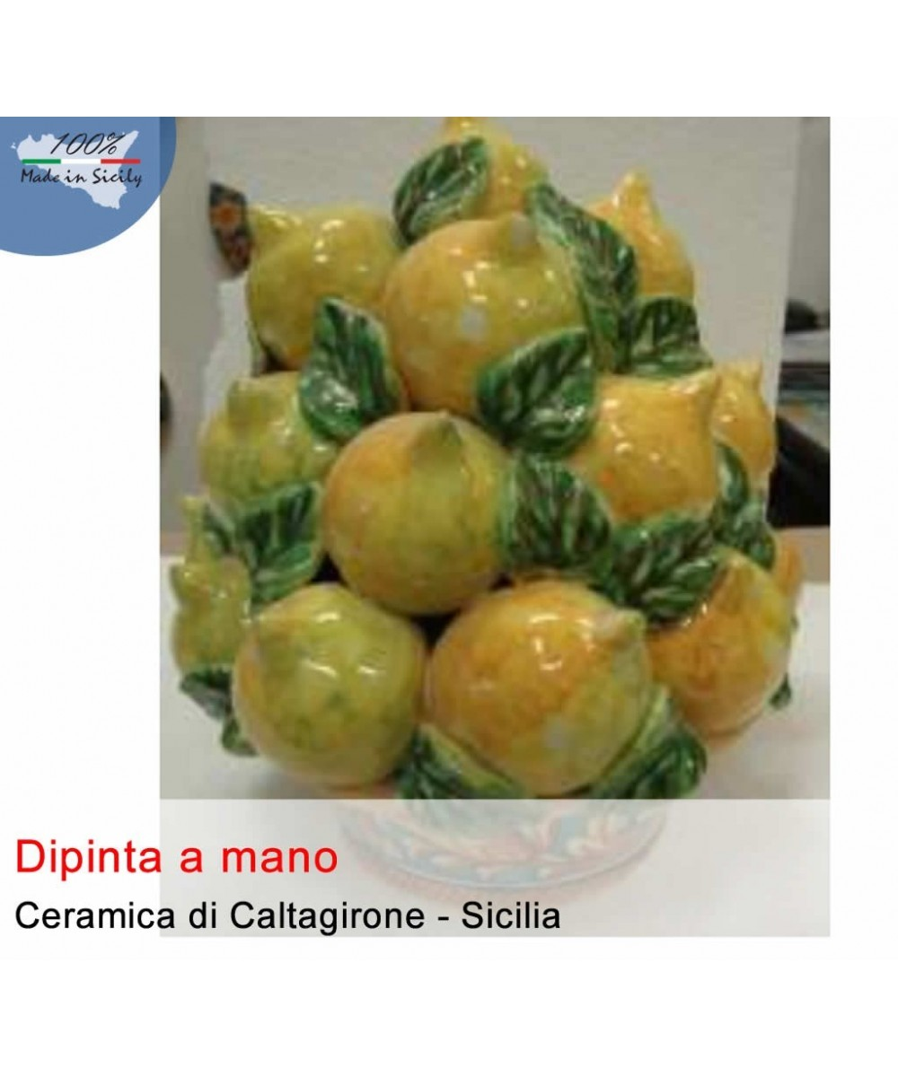 Hand painted basket of lemons from Caltagirone ceramics (h. 30 cm)