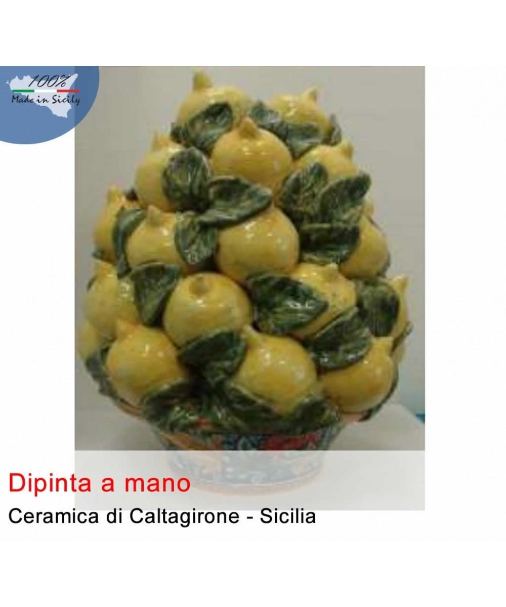 Handgemalter Korb mit Zitronen aus Caltagirone-Keramik (40 cm)