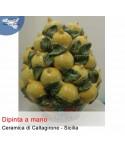 Hand painted basket of lemons from Caltagirone ceramics (h. 40 cm)
