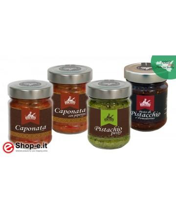 Auberginen-Caponata, Pfeffer-Caponata, Pistazien-Pesto und Pistazien-Tomaten-Pesto