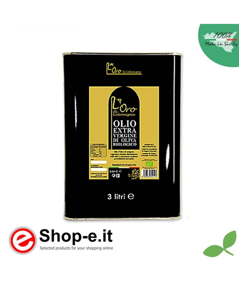 Tin 3 liters Extra Virgin Olive Oil from organic cultivation