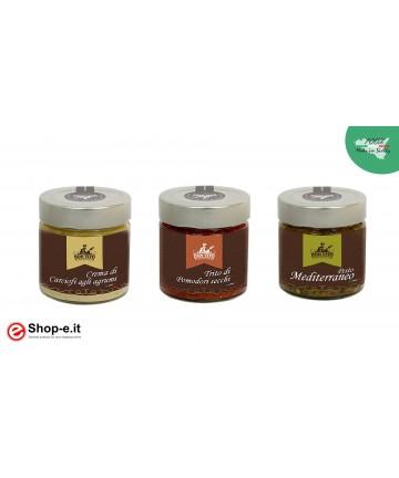 Crema di carciofi, pesto mediterraneo e trito di pomodoro secco
