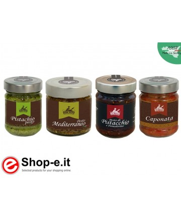 Sicilian preserves saving pesto and caponata packaging