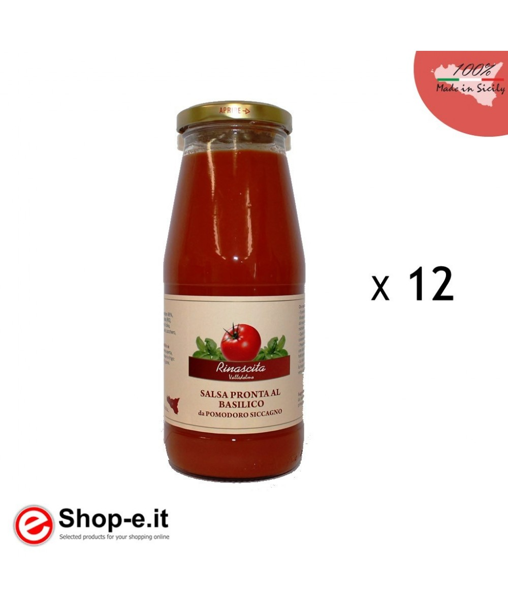 nr. 12 bottles of ready-made basil sauce and Sicilian siccagno tomato shallots of 410g