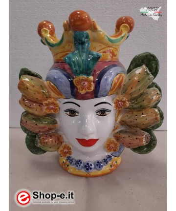 "Dark brown woman in caltagirone ceramic with ""prickly pear"" theme"