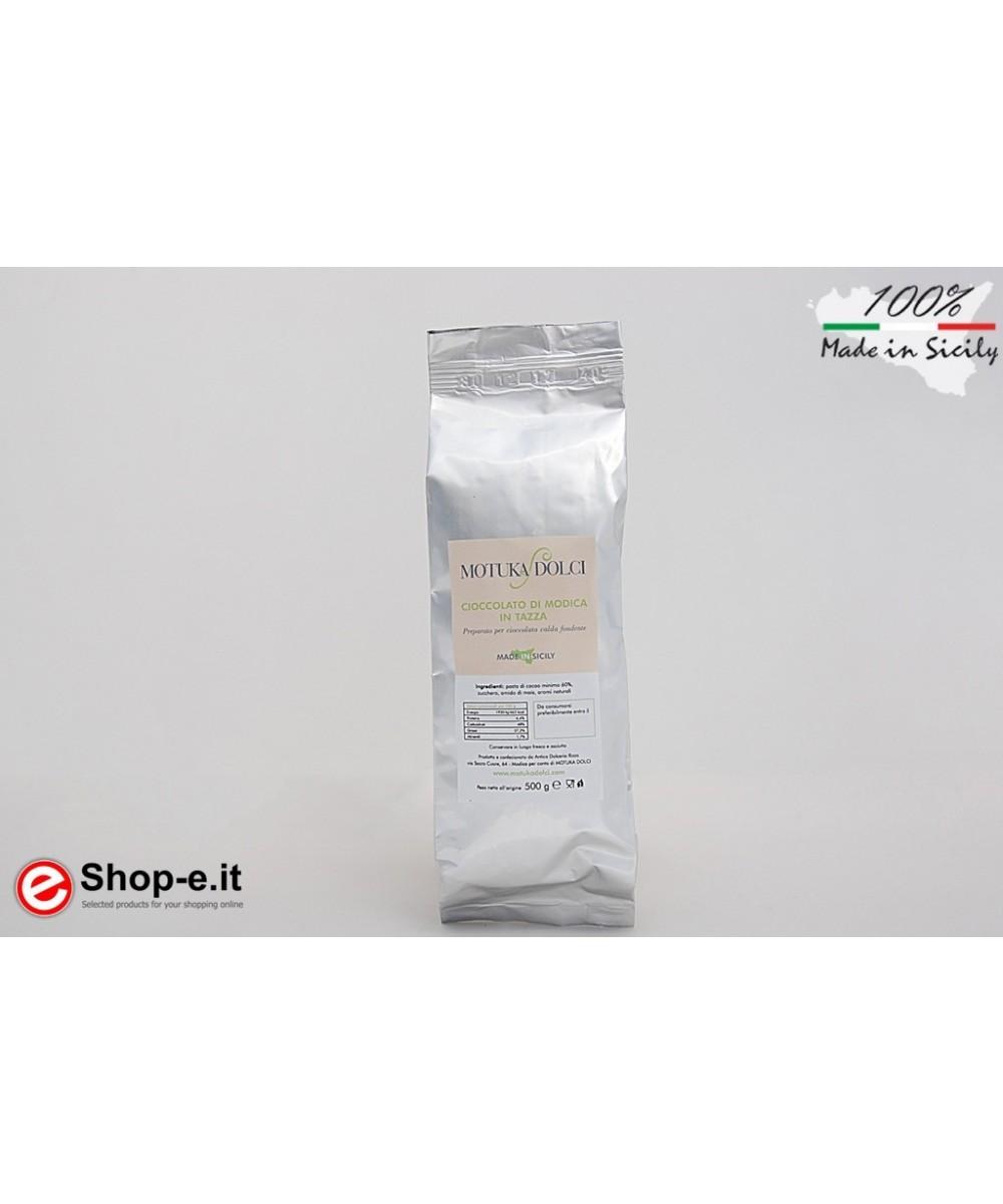 Modica Schokolade in einer 500 Gramm dunklen schwarzen Tasse 70%