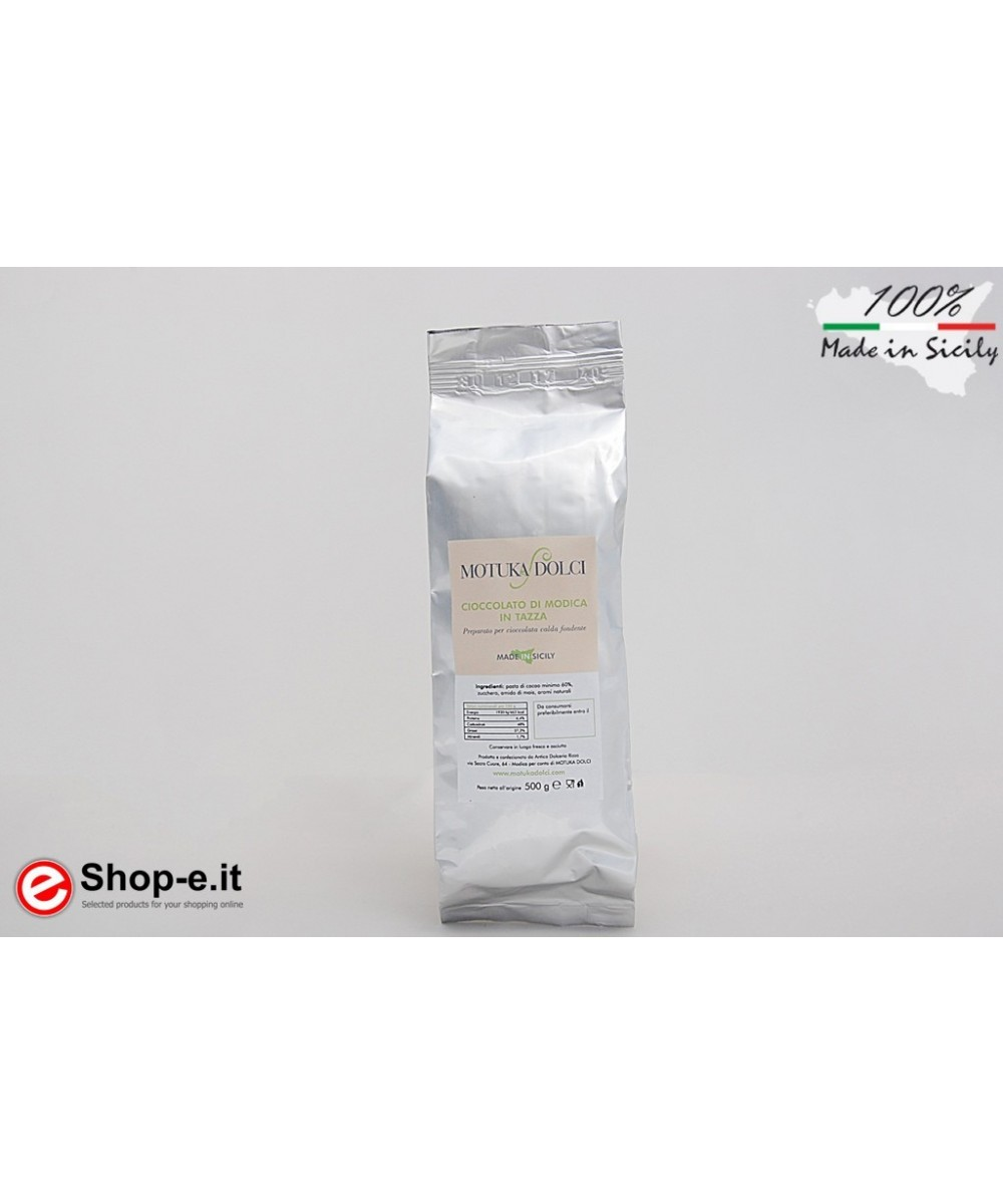 Modica chocolate in a 500 gram cup with vanilla