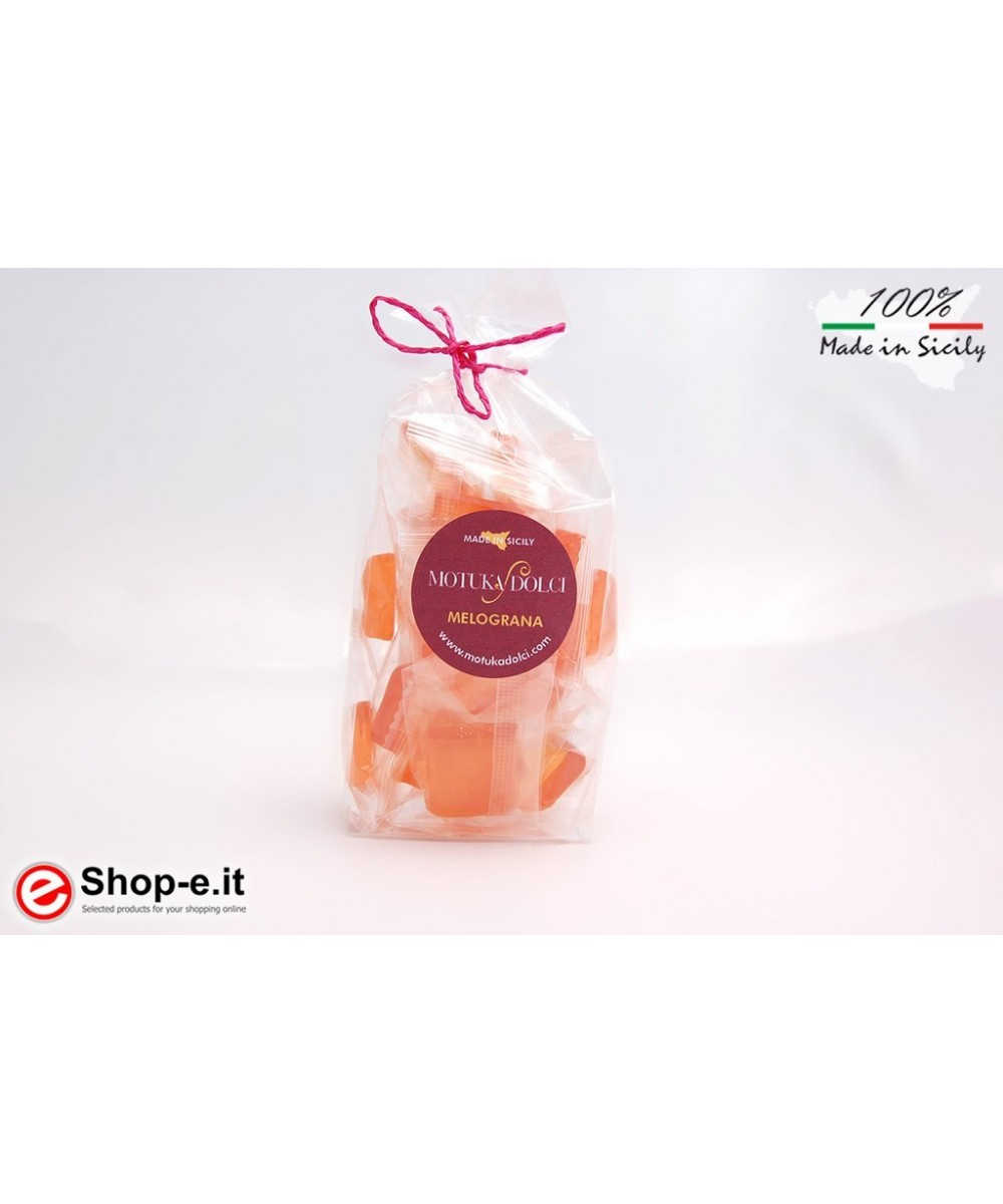Sicilian artisan pomegranate candies with 100 grams