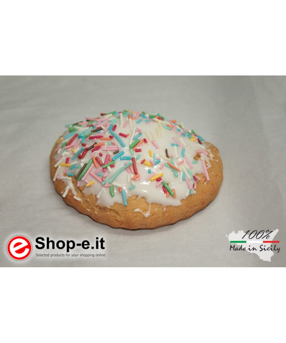 Buccellati with Sicilian almonds covered with icing and sprinkles