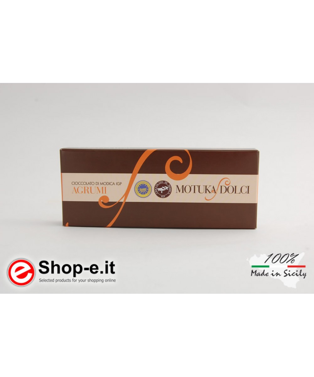 100 grams Sicilian Modica chocolate with citrus fruits