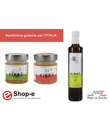 Basket containing two jars of Sicilian black bee honey and a bottle of extra virgin olive oil