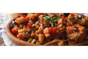 The caponata is consisting of fried vegetables seasoned with an irresistible and fragrant sweet and sour sauce
